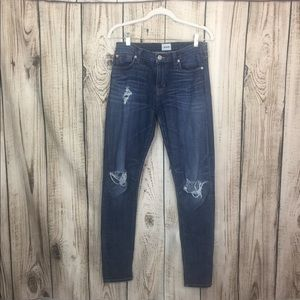 HUDSON Distressed Blue Denim Skinny Jeans Size 28